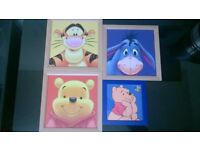4 picture painting print rare disney winnie the pooh eeyore tigger job lot framed textured pictures