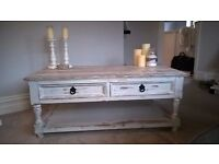 Unique Shabby Chic Coffee Table. Immaculate Condition. Grey Distressed. Almost New. 2 Drawer