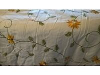 Cream and gold floral patterned bedpsread and 2 pillow cases