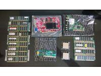 job lot bundle ram 7x 512mb 4x 1gb 2x sd ram x600 graphics card + pci dvb-t + modem 2x amd cpu