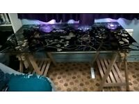 IKEA GLASHOLM/FINNVARD Floral Glass desk top with adjustable trestle legs