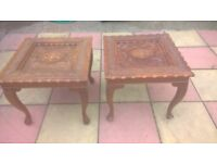 pair of end / side tables old rare antique heavily hand carved leafs & flowers, 4 cabriole legs