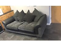 3 seater black and grey sofa