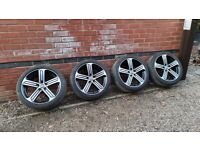 "Volkswagen VW GOLF R GTD 18"" Cadiz Alloy Wheels Bridgestone 5G0601025bk 5x112"