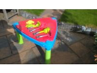 sand/water tray - sturdy plastic with accessories. can be used indoors or outdoors.