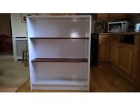 Book case. White with mahogany adjustable shelves. 920mm wide. 1120mm high