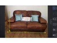 Designer Italian Sofitalia brown leather two seater sofa (1of 2 for sale)