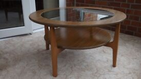 Schreiber Round Glass and Wood Coffee Table