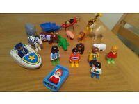 Playmobil 123 Figures, Animals, boats, horse cart
