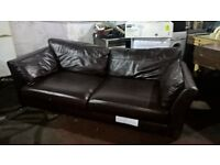 Brown leather three seater sofa from marks and spencers