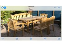 """Garden furniture set very solid & well built. ( 1x 3 seater bench &4 x single chairs 6"""" table"""
