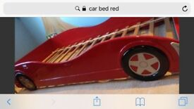 Single red car bed