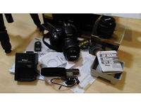 DSLR Nikon D5100 18-55VR kit & extra lens & tripod & microphone - Hardly used in box with receipt