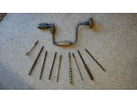 Carpenters Hand Brace and Bits