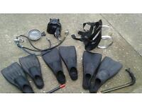 DIVING EQUIPMENT FLIPPER SIZE 9.10. & 12. MASK. AIR PIPES. & BOTTLE HARNESS