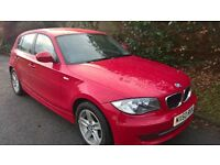 BMW 116i Sport 54500 miles in Crimson/Grey cloth trim with sports seats 5Door 6 Speed Air Con.