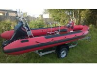 Rib Boat Narwhal 5.8m Yamaha 75hp outboard and Trailer Dive Boat Speed