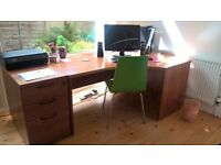 Cherrywood corner desk with three drawer filing pedestal.
