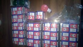 crompton and maxim coloured golb ball screw light bulbs for dj lighting or lamps
