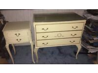 Cream Queen Anne style 3 drawer chest and matching Queen Anne style cream 2 drawer bedside table