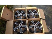 "MOMO STRIKE 2 Gloss Black 17"" Alloys 5x114.3 PCD Wheels To Fit Mazda Lexus Nissan Chrysler Subaru"
