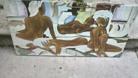 Canvas picture. 4 women bathing