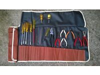 Tool Roll including electrical Lindstrom pliers, wire cutters, strippers,+ other sockets, tools