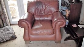 Leather 3 piece Suite with stool. £50. ono.