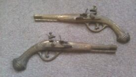 Old Vintage Antique Solid Brass Wall ornaments Art Pair