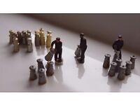 3 x Model Railway figures from a Dairy Farm / Loading onto train, 24 x Milk churns. 00 Gauge people