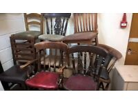 job lot of 7 x mixed solid wooden chairs