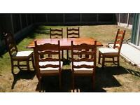 Rustic farmhouse dining set table and six chairs