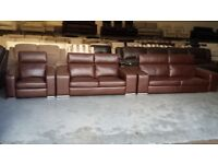 Italian Domicil Monte Carlo brown leather 3+2 seater sofas and armchair