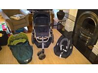 Quinny Buzz Xtra Stroller, Car Seat, Carry Cot and Raincovers