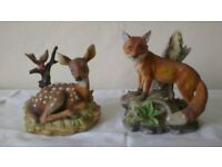 FOX & DEER finest porcelain Figurines - £8 the pair.