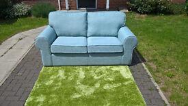 Ex-display Designer Duck Egg Blue Fabric 2.5 Seater Sofa.