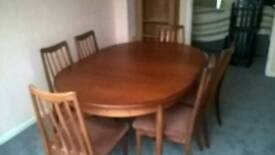 Gplan extendable dining room and chairs