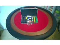Foldable poker table top with carry case and 300 pcs numbered chips set, deck of 100% plastic cards