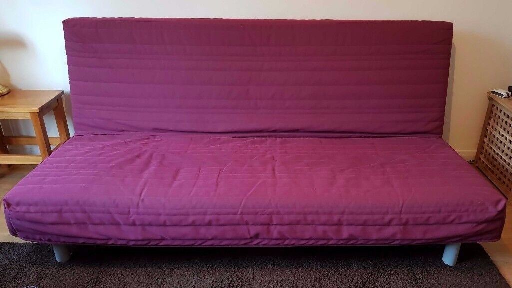 IKEA Beddinge Lovas Double Sofa Bed (grey) including an extra cerise cover