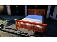 KINGSIZE SIZE WOODEN BED FRAME WITH MATTRESS FREE LOCAL DELIVERY