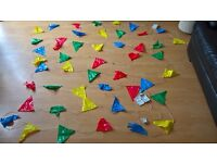 Multi coloured light up plastic bunting flags