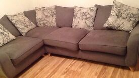 GORGEOUS GREY CORNER SOFA AND LOVE CHAIR