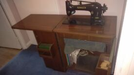 Vintage Singer Sewing Machine With Accessories in Cabinet