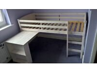 Mid-sleeper bed for sale, white wood with sliding desk. Very good condition