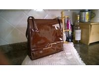 Ladies Brown Patent Retro Handbag