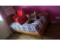 pine single bed new mattress