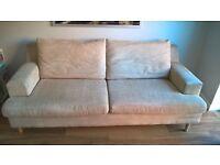Sandstone colour three seater sofa - £100