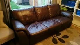 Two Piece Brown Leather Sofa