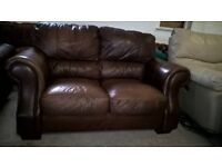 Brown leather 3&2 seater suite sofas Delivery Poss