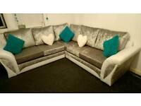 Shannon White and silver velvet corner sofa